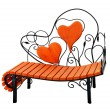 Wooden bench with hearts - Stock Photo