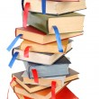 Stack of books with bookmarks - Stock Photo