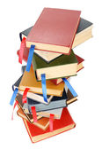 Stack of books with bookmarks — Stockfoto