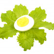 Boiled egg on lettuce leaves — Stock Photo