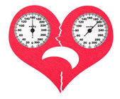 Frightened cracked heart and high blood pressure — Stock Photo