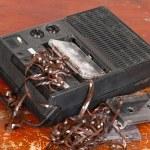 Vintage cassette tape recorder — Stock Photo