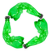 Recycle symbol made of used plastic bottles — Stock Photo