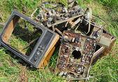 Obsolete or broken television — Stock Photo