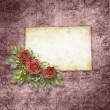 Card for congratulation or invitation with roses on abstract bac — ストック写真