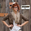 Stock Photo: Displeased hipster girl
