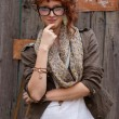 Red haired hipster girl posing — Stock Photo