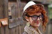 Smiling hipster girl — Foto de Stock