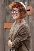 Smiling hipster girl — Stock Photo