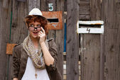 Suprised hipster girl — Stock Photo