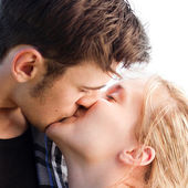 Young romantic couple kissing — Stock Photo