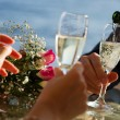 Stock Photo: Wedding champagne in bocals