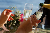 Wedding champagne in the bocals — Stock Photo