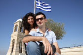 Couple do sightseeing in Athens — Stock Photo