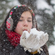 Girl blowing fluffy snowflakes — Stock Photo