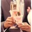 Newlyweds toasting with champagne — Stock Photo