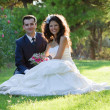 Young couple in the park after wedding — Stock Photo #24559601