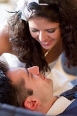Young couple ready for a kiss — Stockfoto