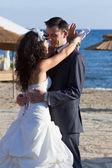 Young couple dancing the wedding dance — Stock Photo