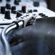 Turntable, vinyl and sound mixer — Stock Photo