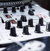 Turntable, vinyl and sound mixer — Stock Photo