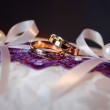 Pair of gold wedding rings with diamond — Stock Photo
