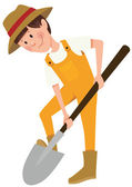 Boy digging with a shovel — Stock Vector