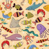 Sem costura - fauna subaquática — Vetorial Stock
