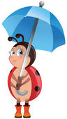 Ladybug with umbrella — Stock Vector