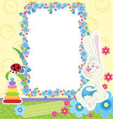 Children frame with rabbit — Stock Vector