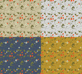 Seamless patterns with strawberries — ストックベクタ