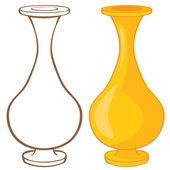 Florero. ilustración color y contorno — Vector de stock