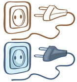 Electrical plug and socket — Stock Vector