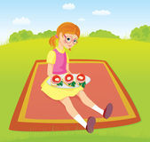 Girl on picnic and sandwiches — Stock Vector