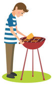 Man cooks barbecue — Stockvector