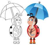 Coccinella con ombrello — Vettoriale Stock