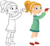 女孩和瓢虫 — 图库矢量图片