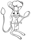 Jerboa chef outline — Stock Vector