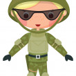 Military cartoon boy — Imagen vectorial