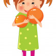 Little girl with orange ball — Grafika wektorowa