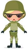 Militaire cartoon jongen — Stockvector