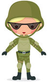 Military cartoon boy — Vector de stock