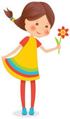 Girl with flower — Stock Vector