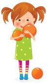 小女孩用橙色的球 — 图库矢量图片