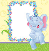 Children frame with elephant — Stock Vector