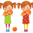Stock Vector: Two girls twins with balls