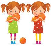 Twee meisjes tweeling met ballen — Stockvector