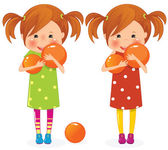 Two girls twins with balls — Vector de stock