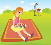 Girl and men on the picnic — Stock Vector