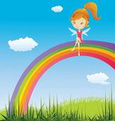 Märchen auf einem regenbogen — Stockvektor